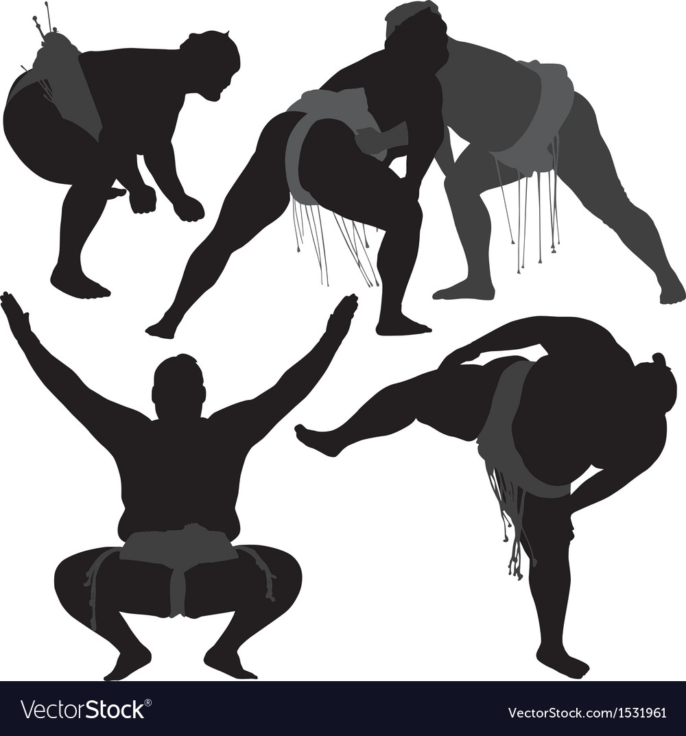Sumo wrestling silhouette vector | Price: 1 Credit (USD $1)