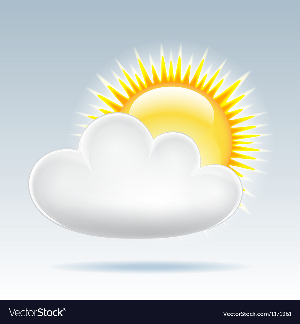 Sun with cloud floats in the sky vector | Price: 1 Credit (USD $1)
