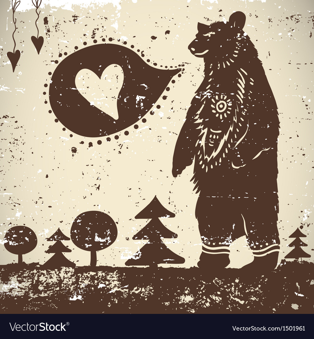 Wild animal background bear with a heart vector | Price: 1 Credit (USD $1)