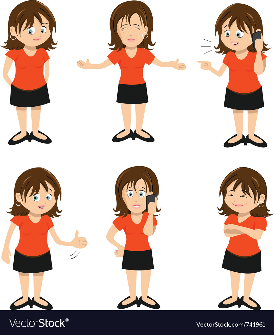 Woman brunette standing chatting vector | Price: 3 Credit (USD $3)