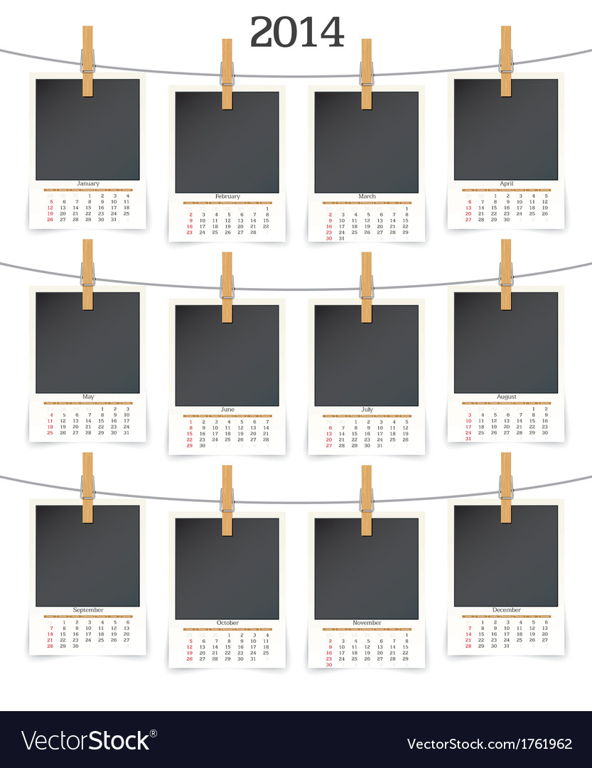 2014 calendar whith photo frames vector | Price: 1 Credit (USD $1)