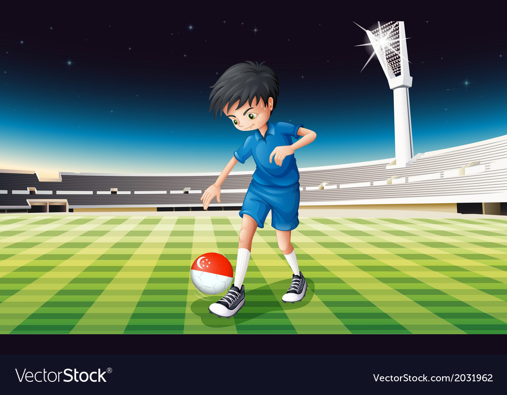 A boy at the field using the ball with the flag of vector | Price: 1 Credit (USD $1)