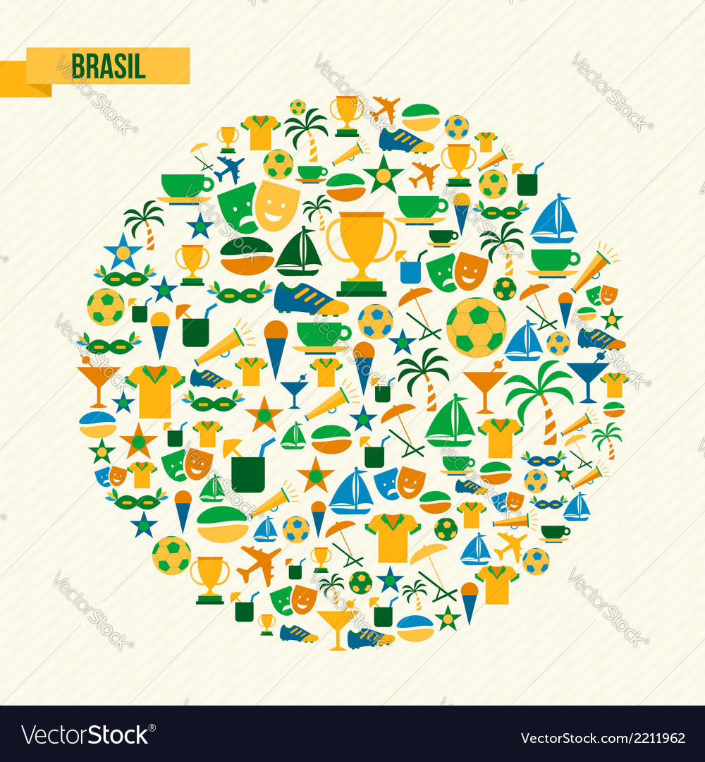 Brazil soccer icons set shape circle vector | Price: 1 Credit (USD $1)