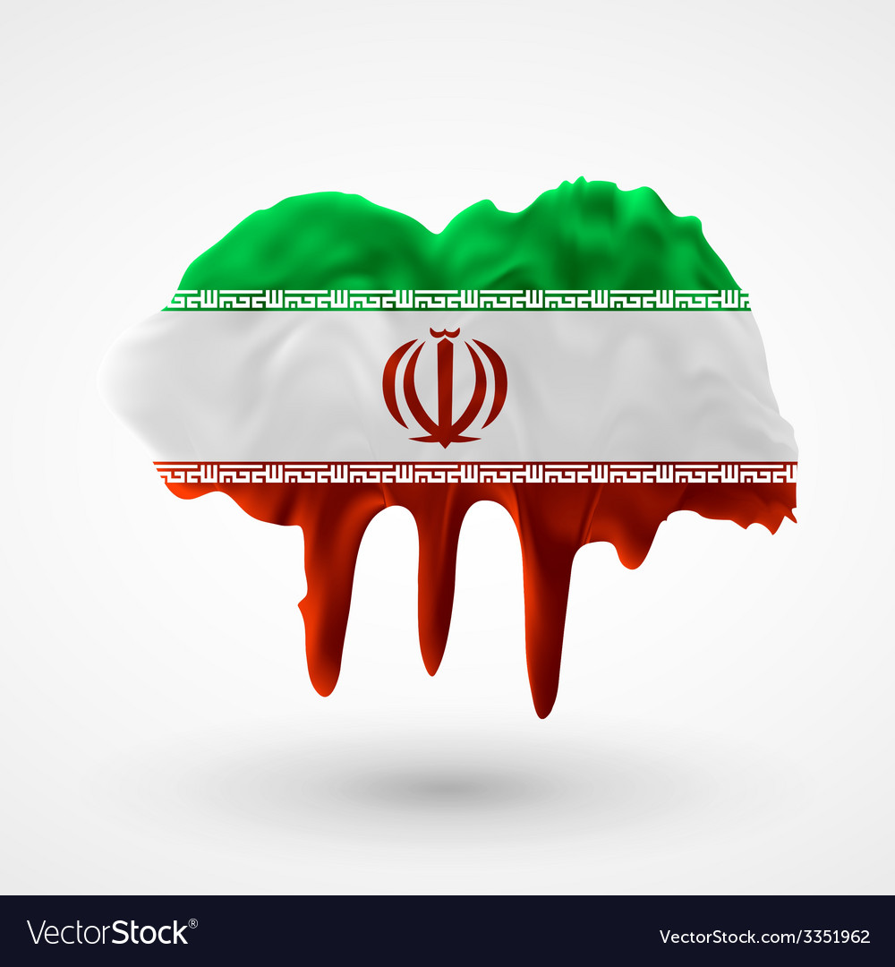 Flag of iran painted colors vector | Price: 3 Credit (USD $3)