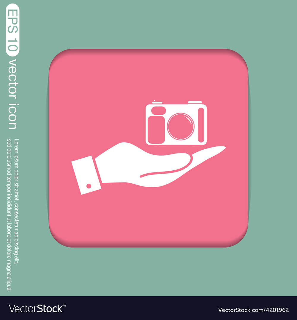 Hand holding a photo camera vector | Price: 1 Credit (USD $1)