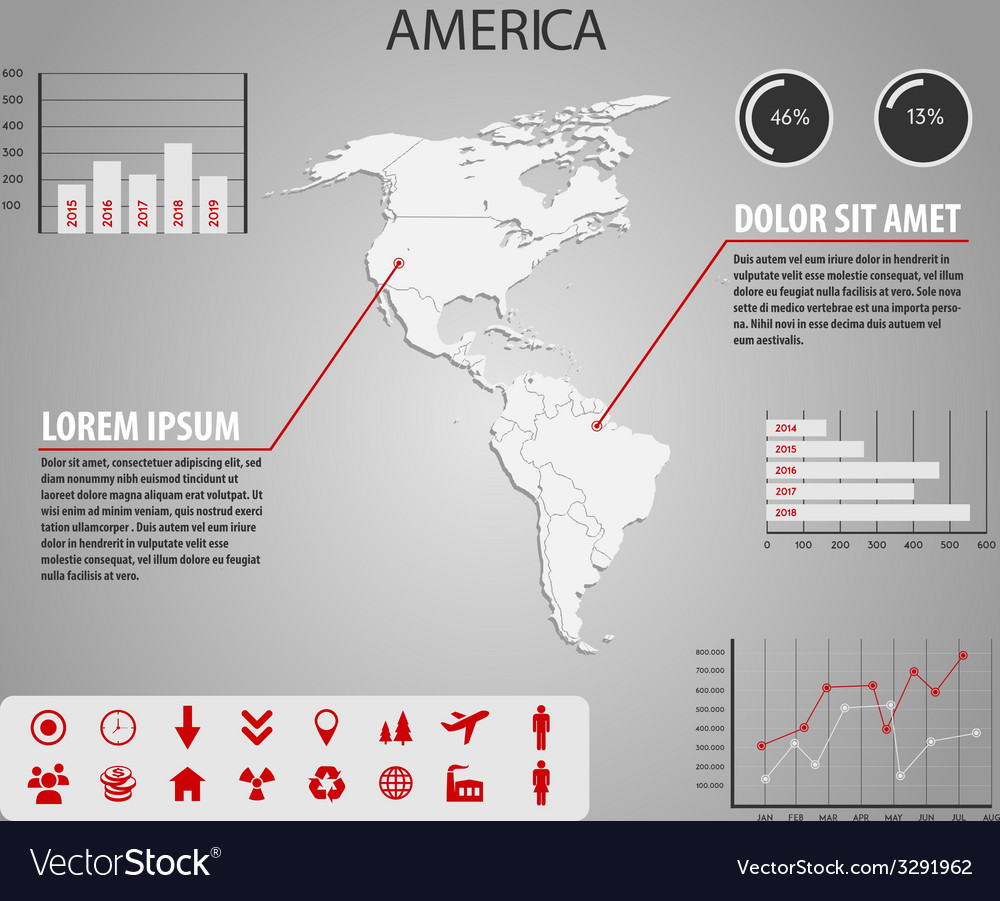 Map of america - infographic vector | Price: 1 Credit (USD $1)
