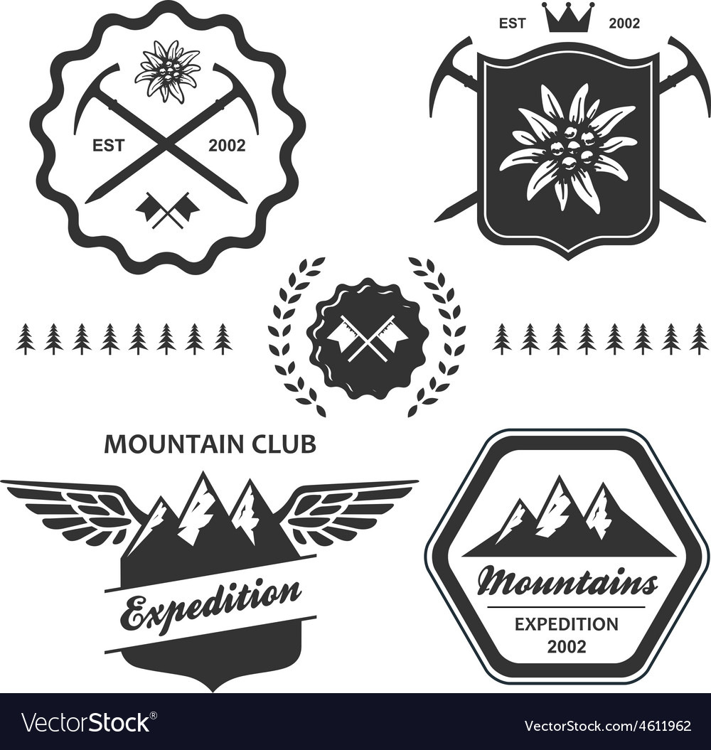Mountain hiking outdoor symbol emblem label vector | Price: 1 Credit (USD $1)
