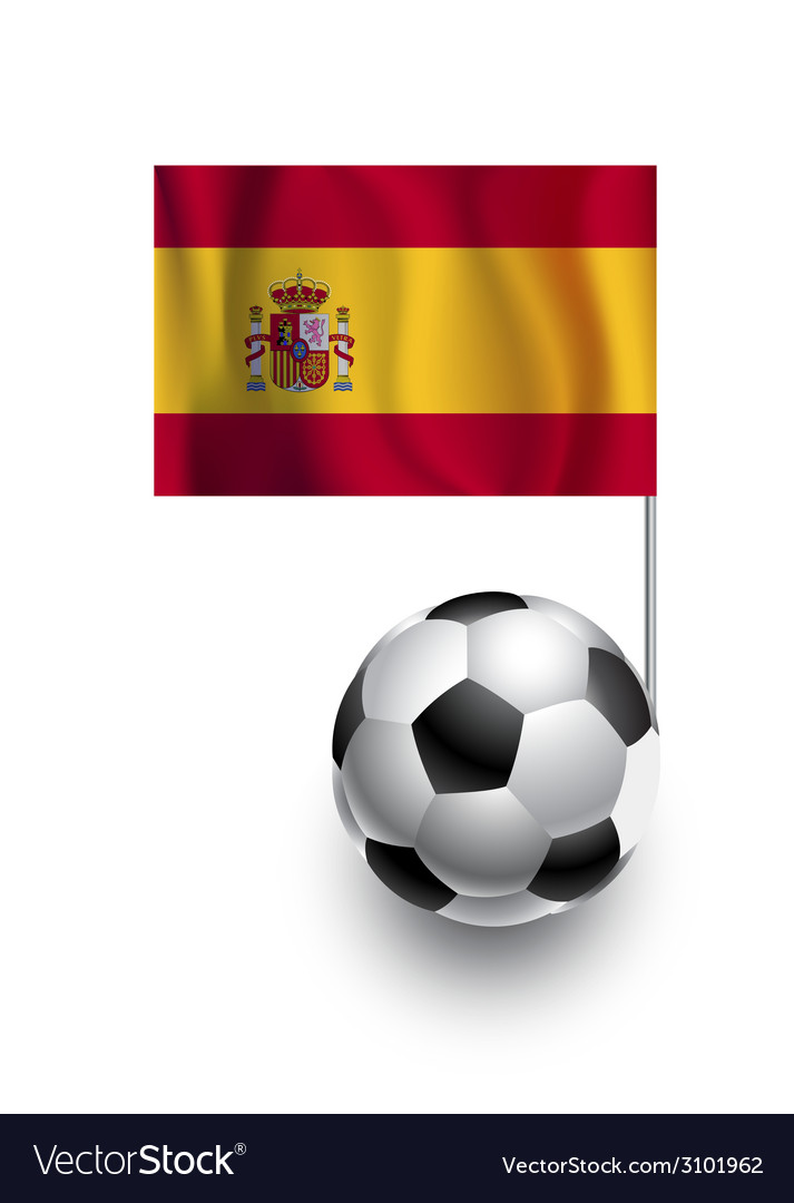 Soccer balls or footballs with flag of spain vector | Price: 1 Credit (USD $1)