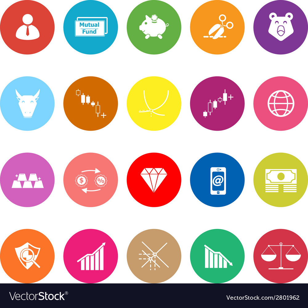 Stock market flat icons on white background vector | Price: 1 Credit (USD $1)