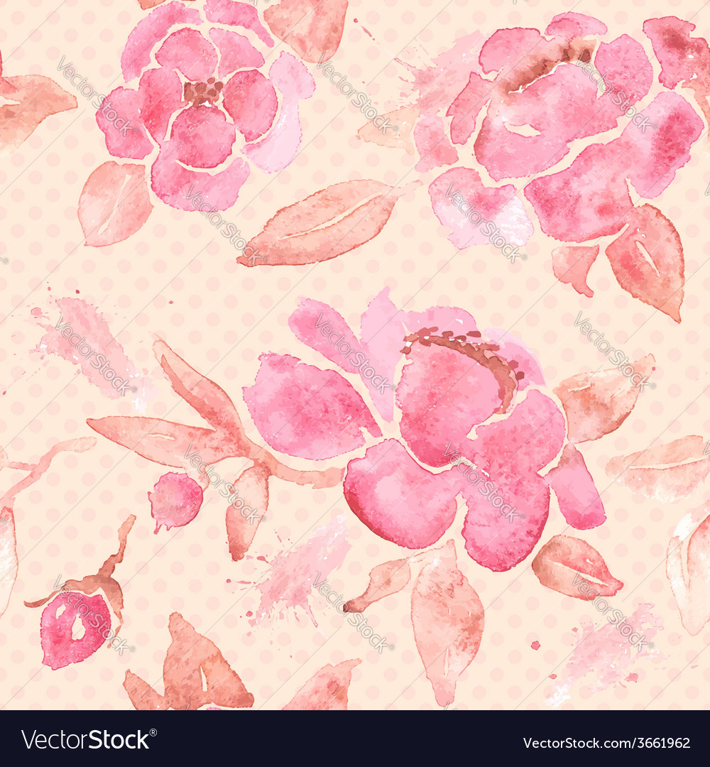 Watercolor seamless wallpaper with peony flowers vector | Price: 1 Credit (USD $1)