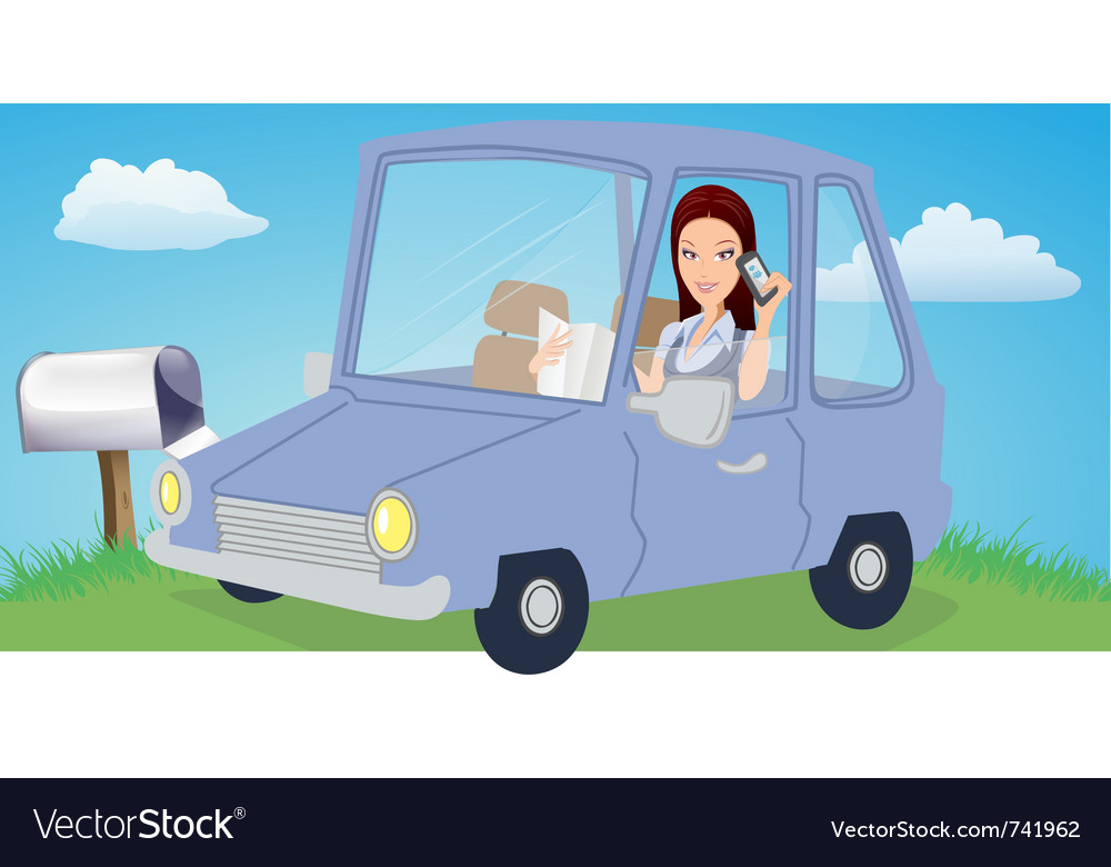 Woman chatting in car vector | Price: 5 Credit (USD $5)