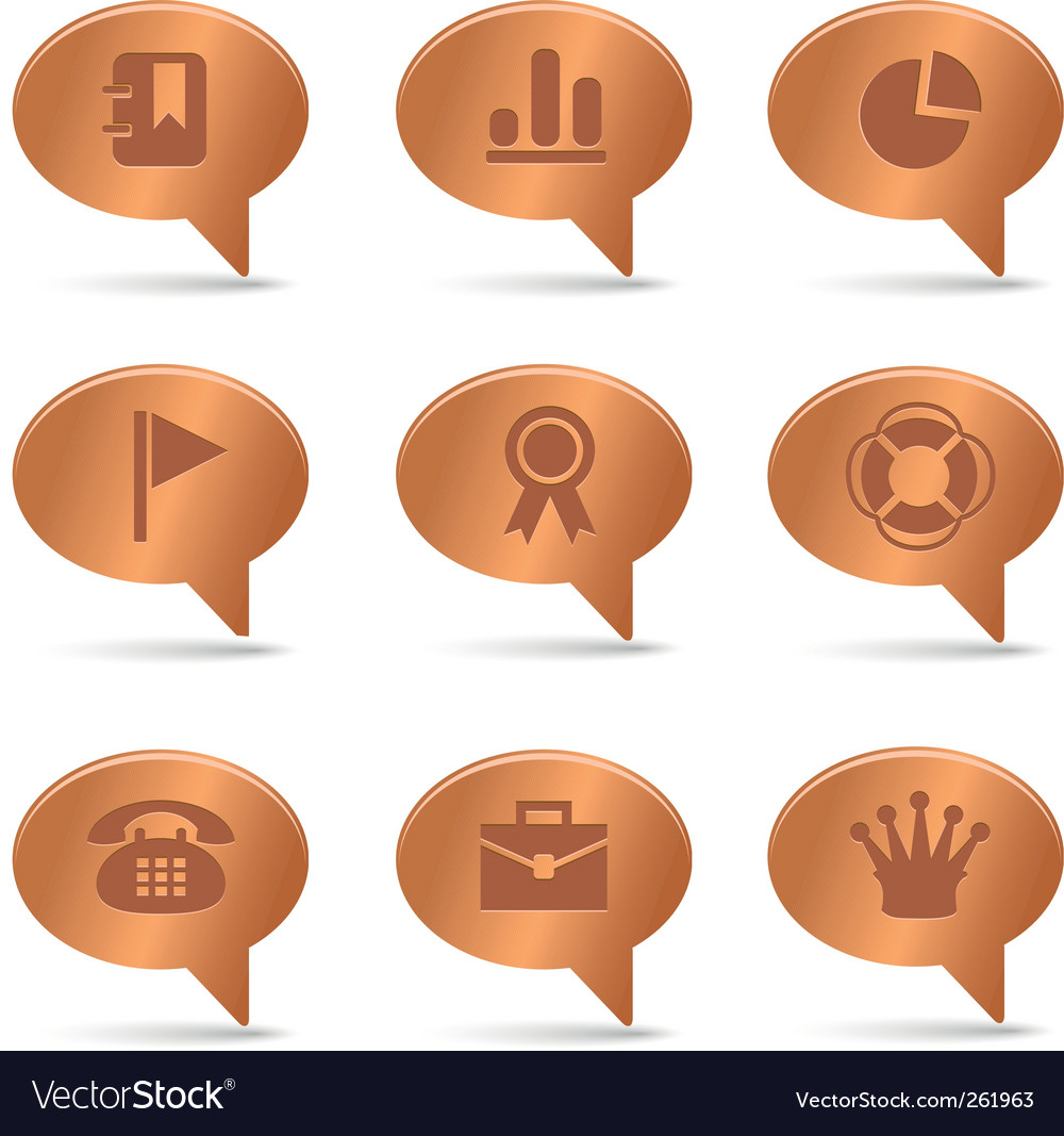 04 copper bubbles office icons vector | Price: 1 Credit (USD $1)
