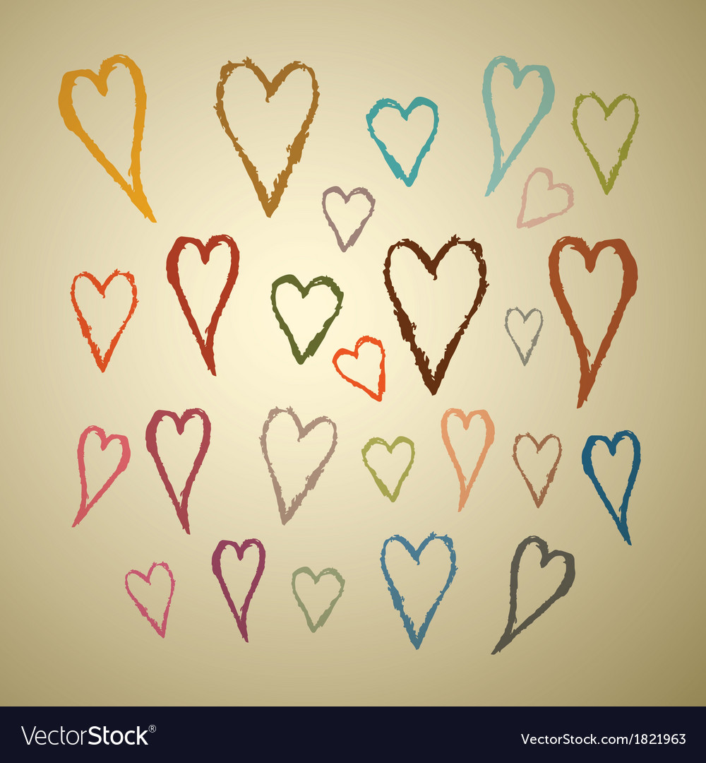 Abstract hand drawn hearts set on paper background vector | Price: 1 Credit (USD $1)