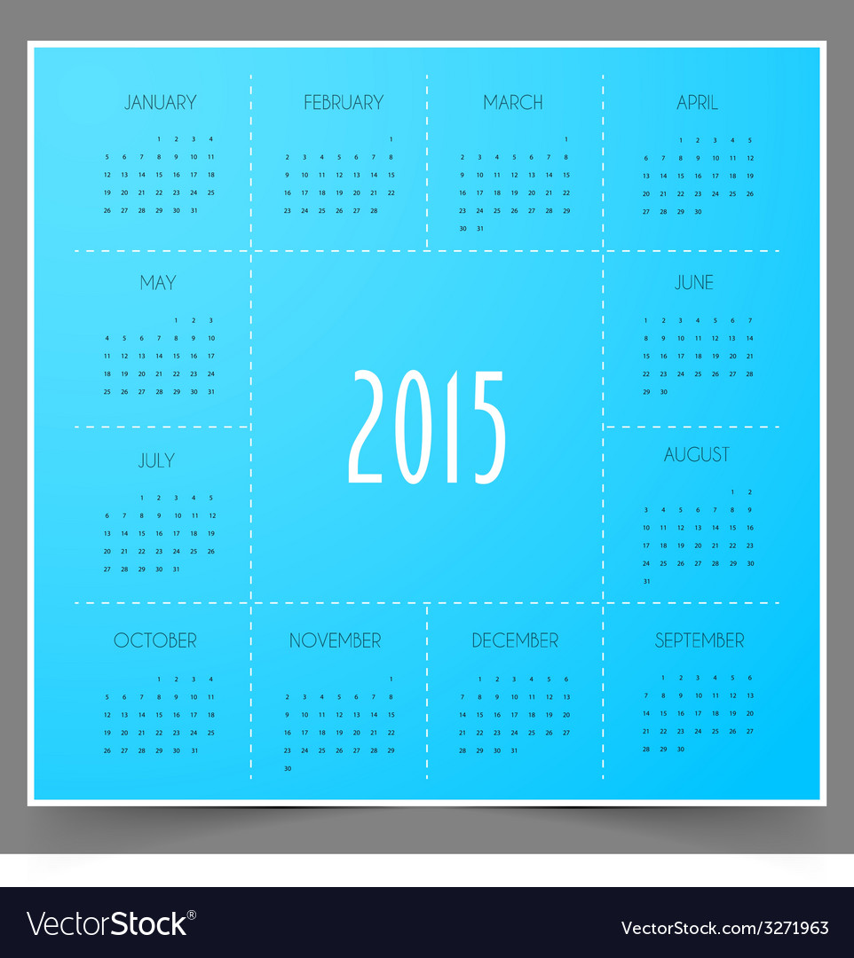 Calendar for 2015 year vector | Price: 1 Credit (USD $1)
