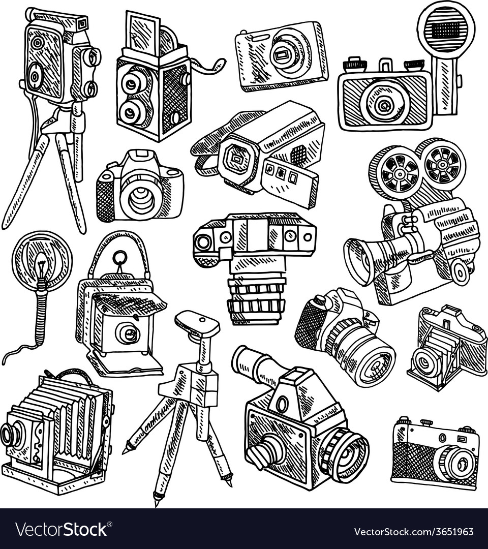 Camera doodle sketch icons set vector | Price: 1 Credit (USD $1)