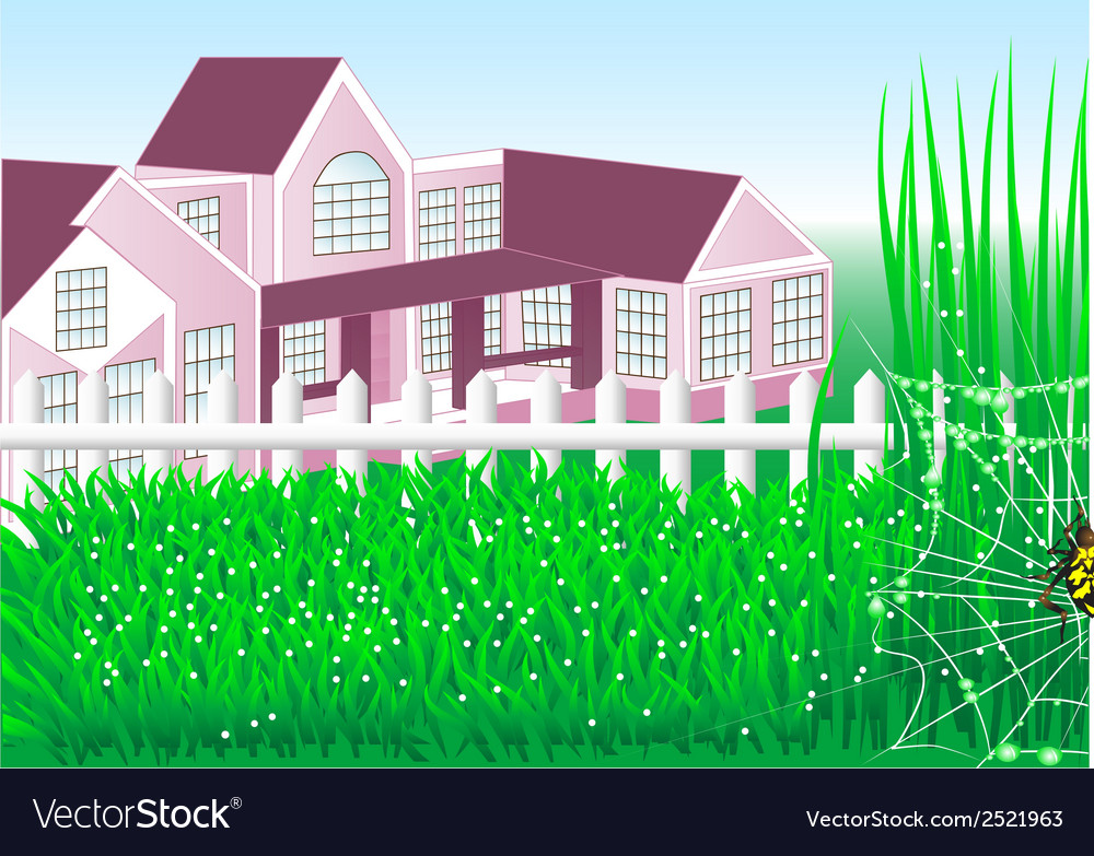Country house garden vector | Price: 3 Credit (USD $3)