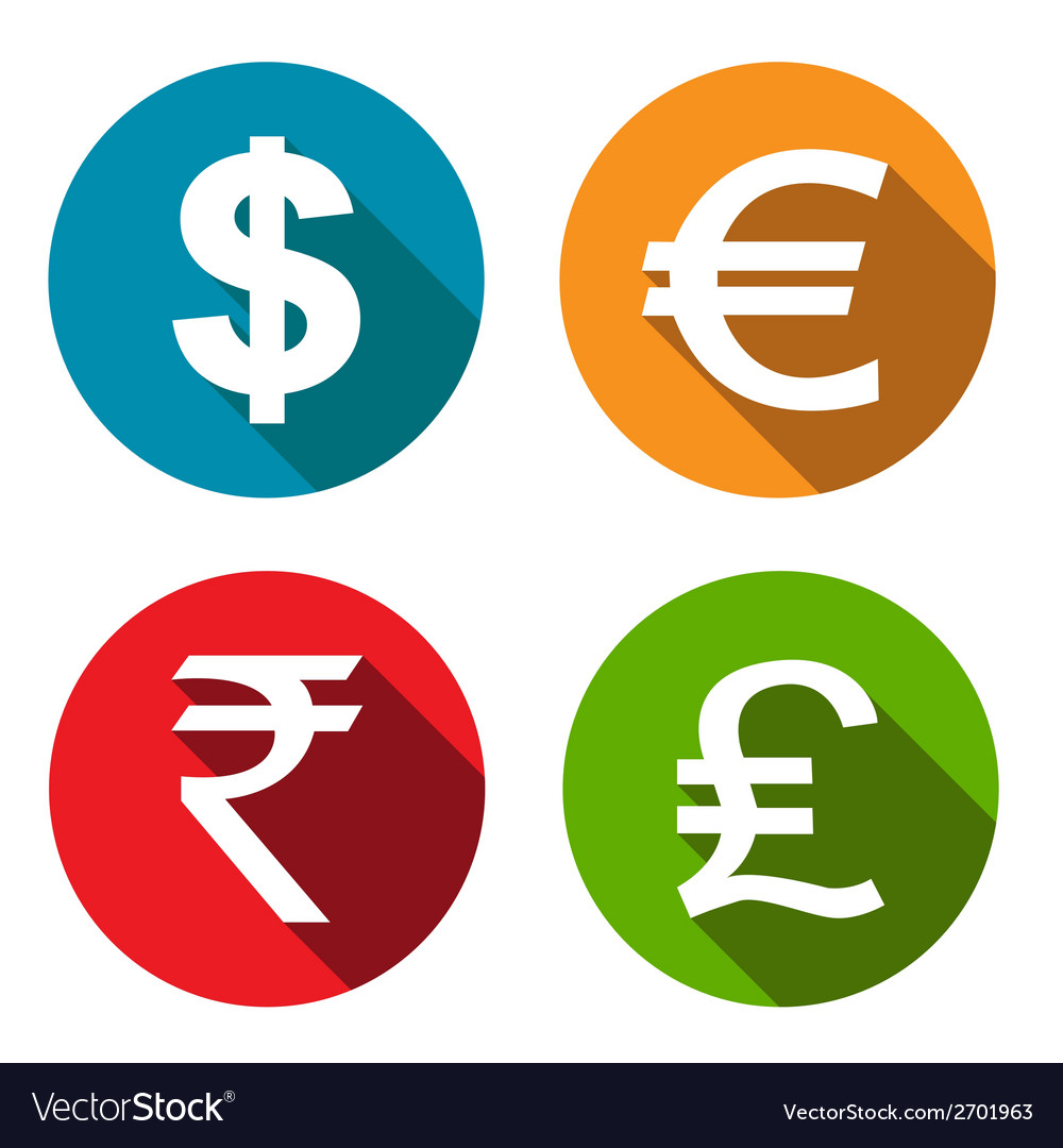 Currency flat icons set vector | Price: 1 Credit (USD $1)