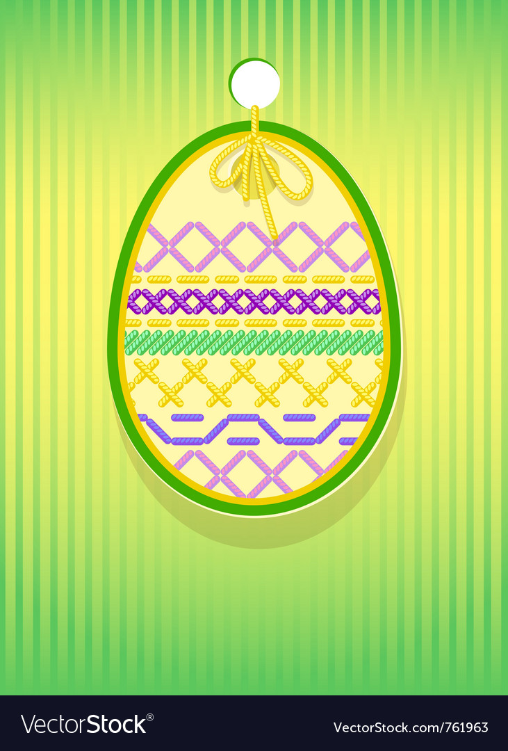 Easter card embroidery vector | Price: 1 Credit (USD $1)