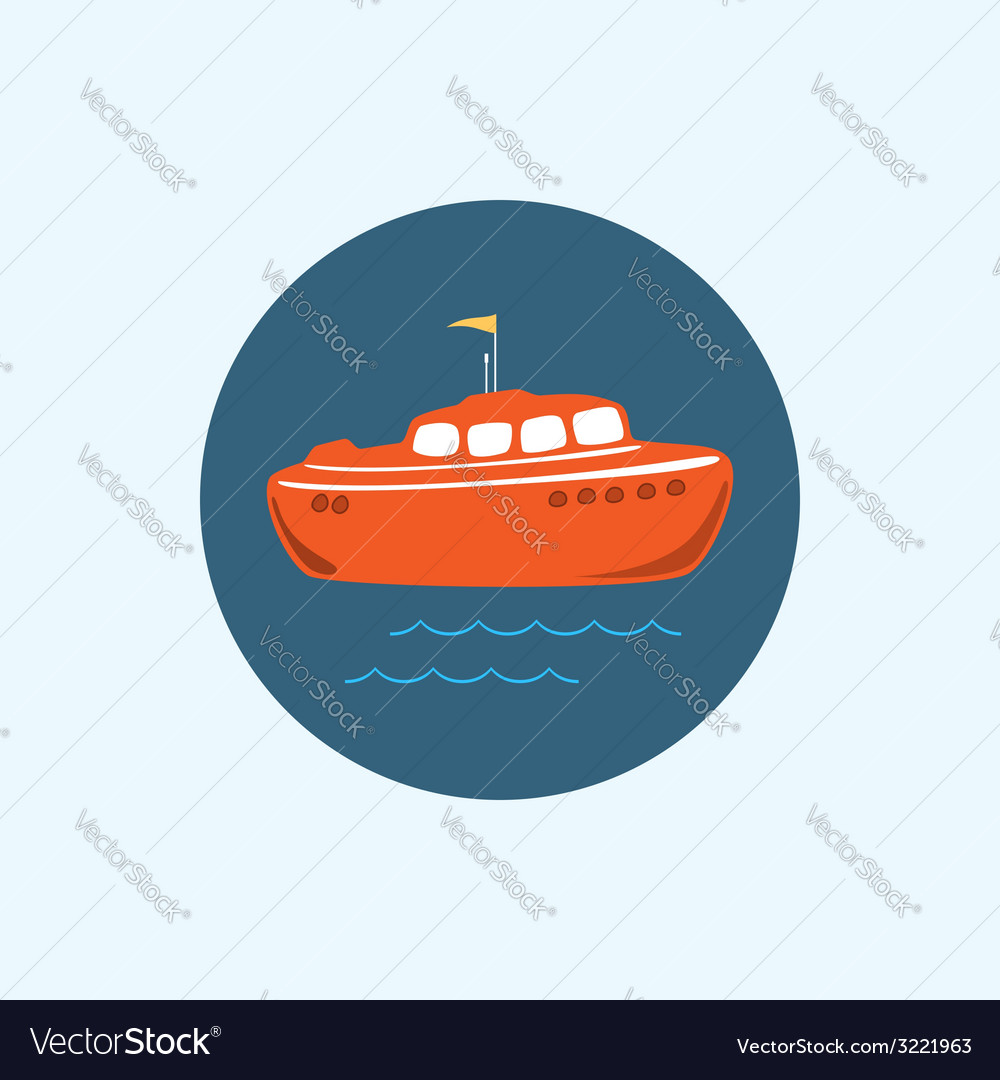 Icon with colored boat vector | Price: 1 Credit (USD $1)