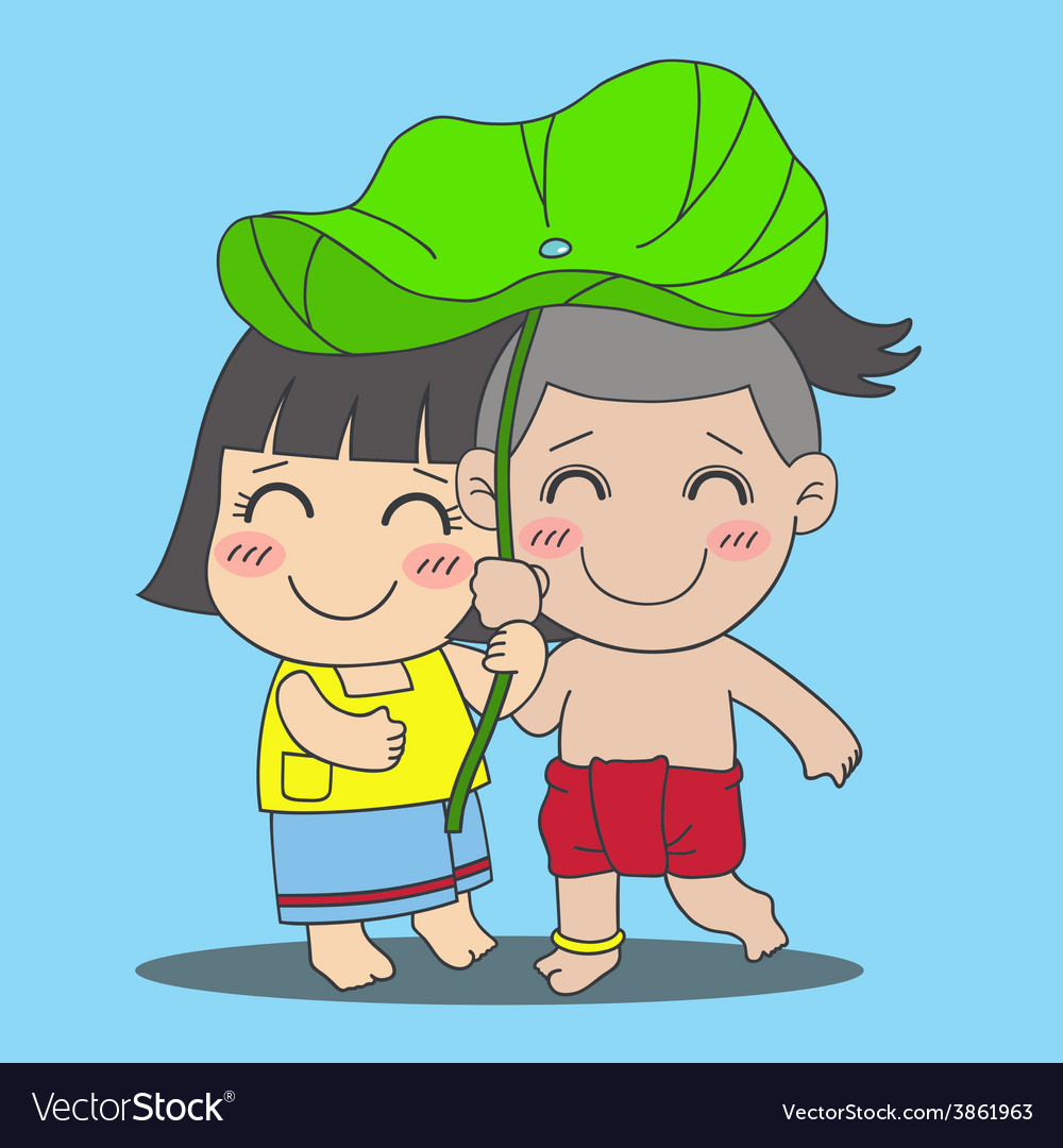 Lotus leaf boy and girl vector | Price: 1 Credit (USD $1)