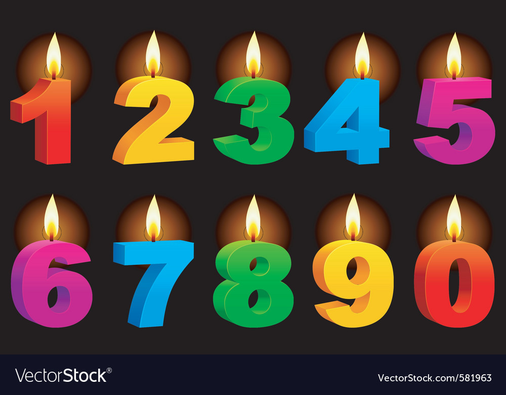 Numbered candles vector