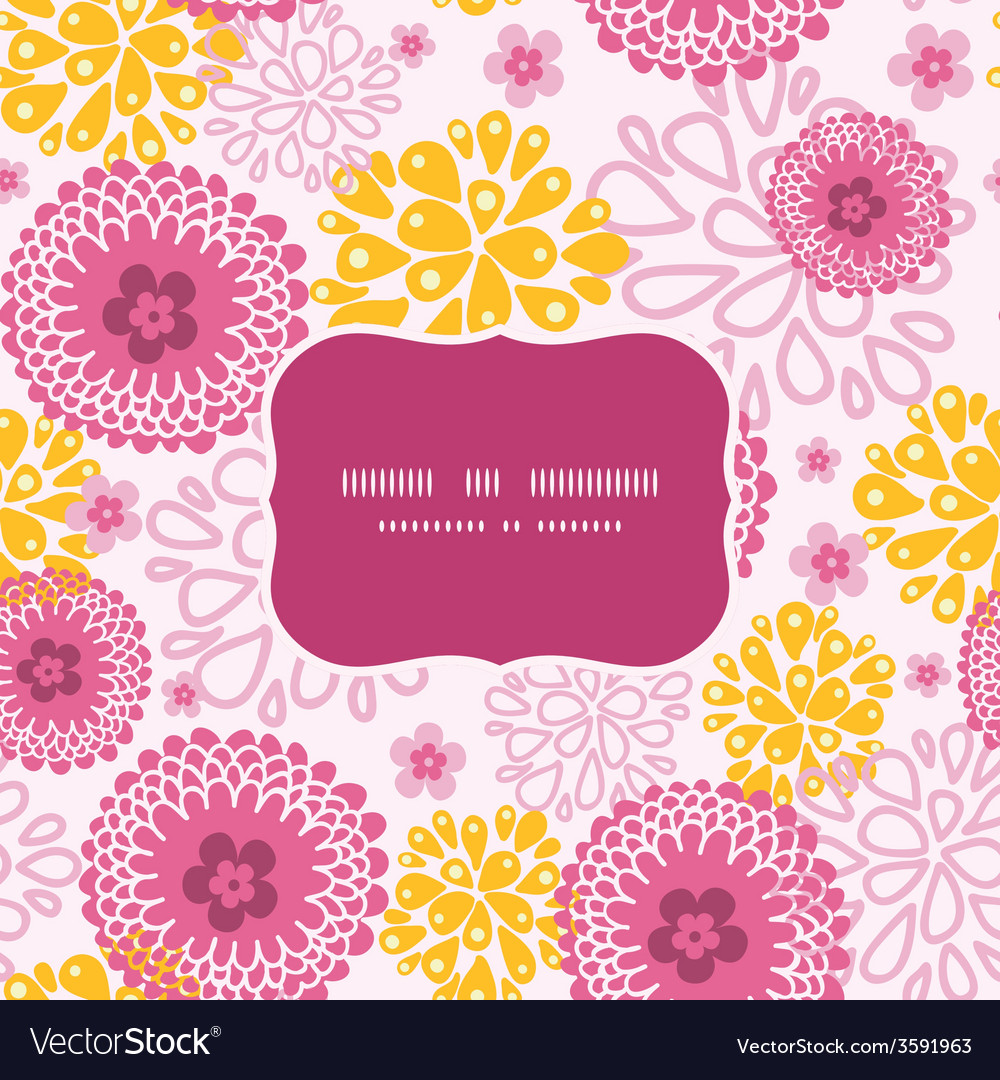 Pink field flowers frame seamless pattern vector | Price: 1 Credit (USD $1)