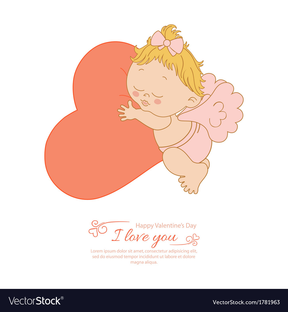 Postcard valentines day with angel and heart vector | Price: 1 Credit (USD $1)