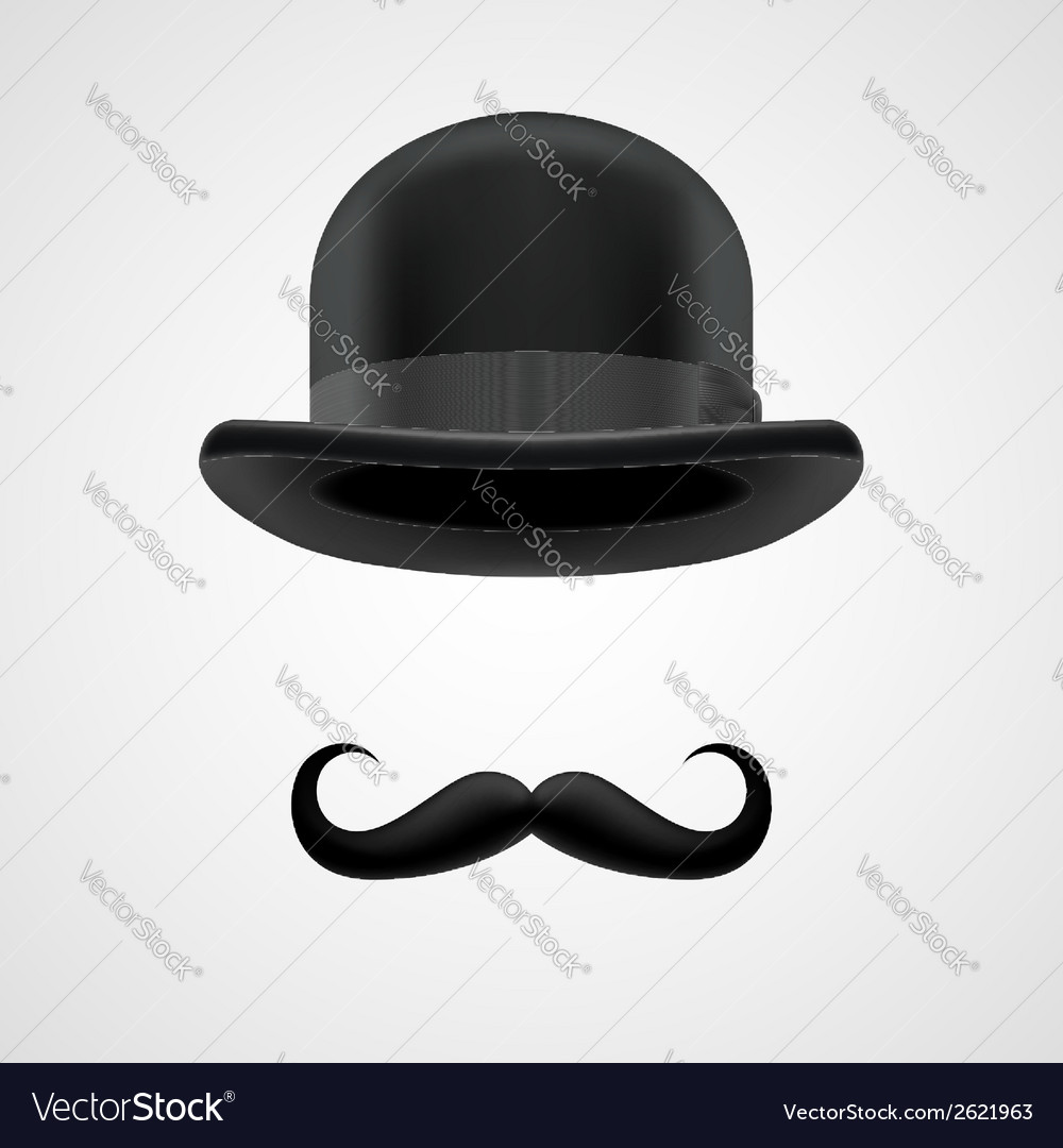 Rich gentleman with moustaches and bowler hat vector | Price: 1 Credit (USD $1)
