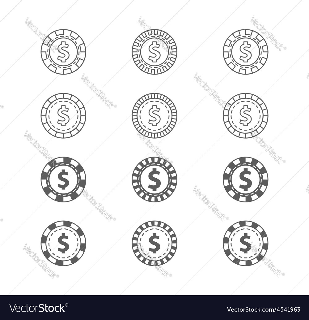 Set of casino gambling chips vector | Price: 1 Credit (USD $1)