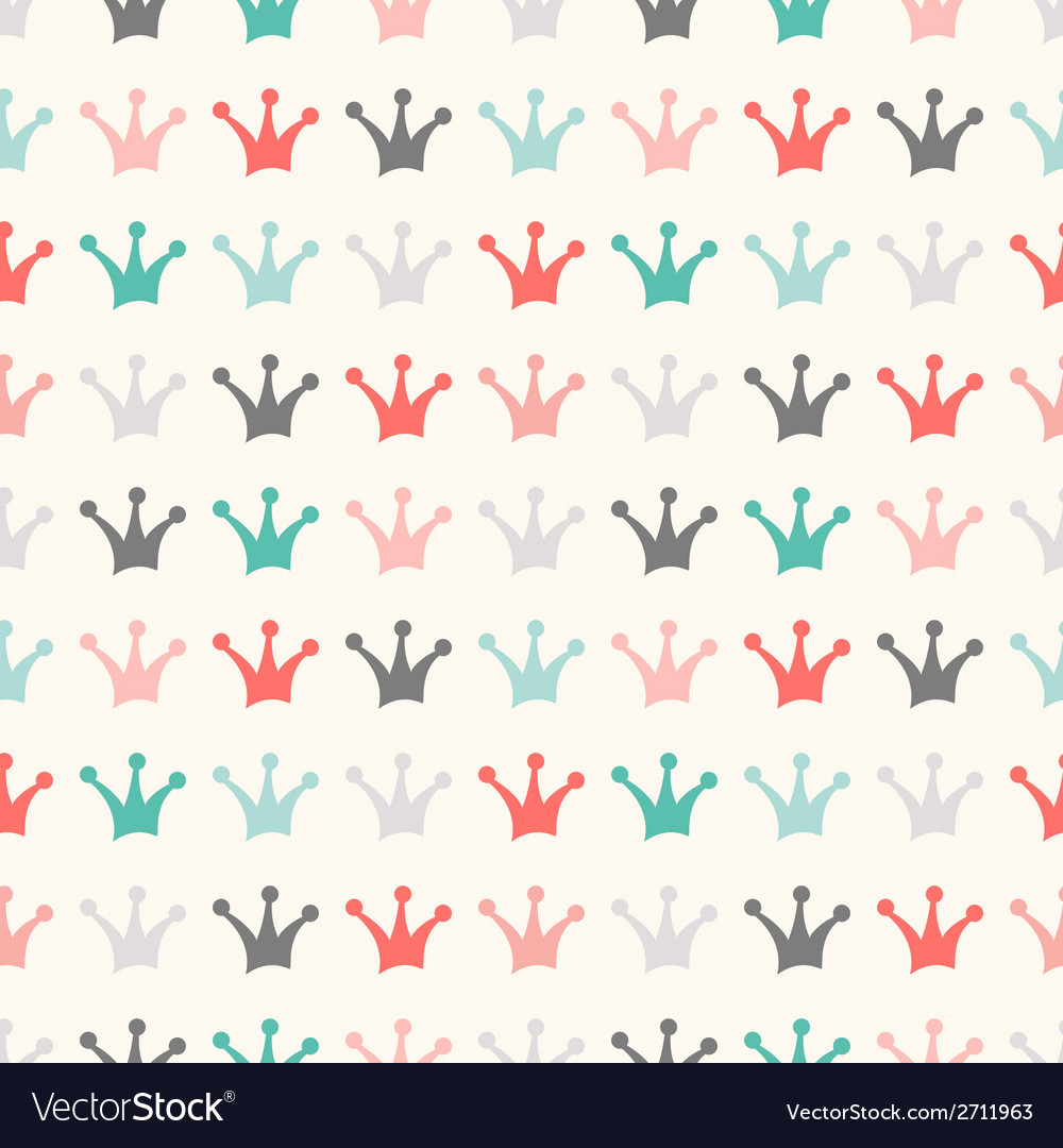 Simple seamless pattern with crown vintage colors vector | Price: 1 Credit (USD $1)