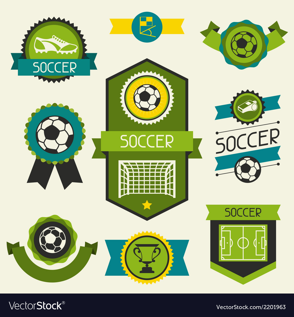 Sports ribbons labels and badges with soccer vector | Price: 1 Credit (USD $1)