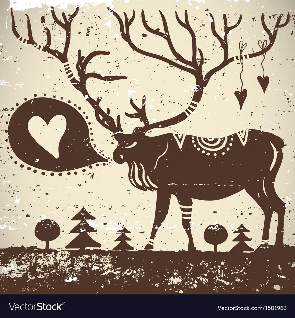 Wild animal grungy background deer vector   Price: 1 Credit (USD $1)