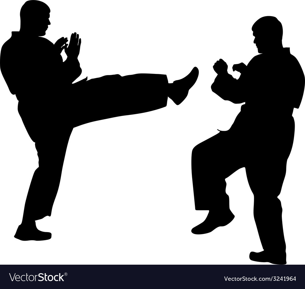 Black silhouettes of karate sport vector | Price: 1 Credit (USD $1)