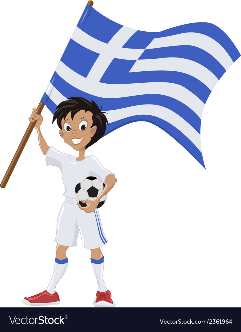 Happy soccer fan holds greece flag vector | Price: 1 Credit (USD $1)