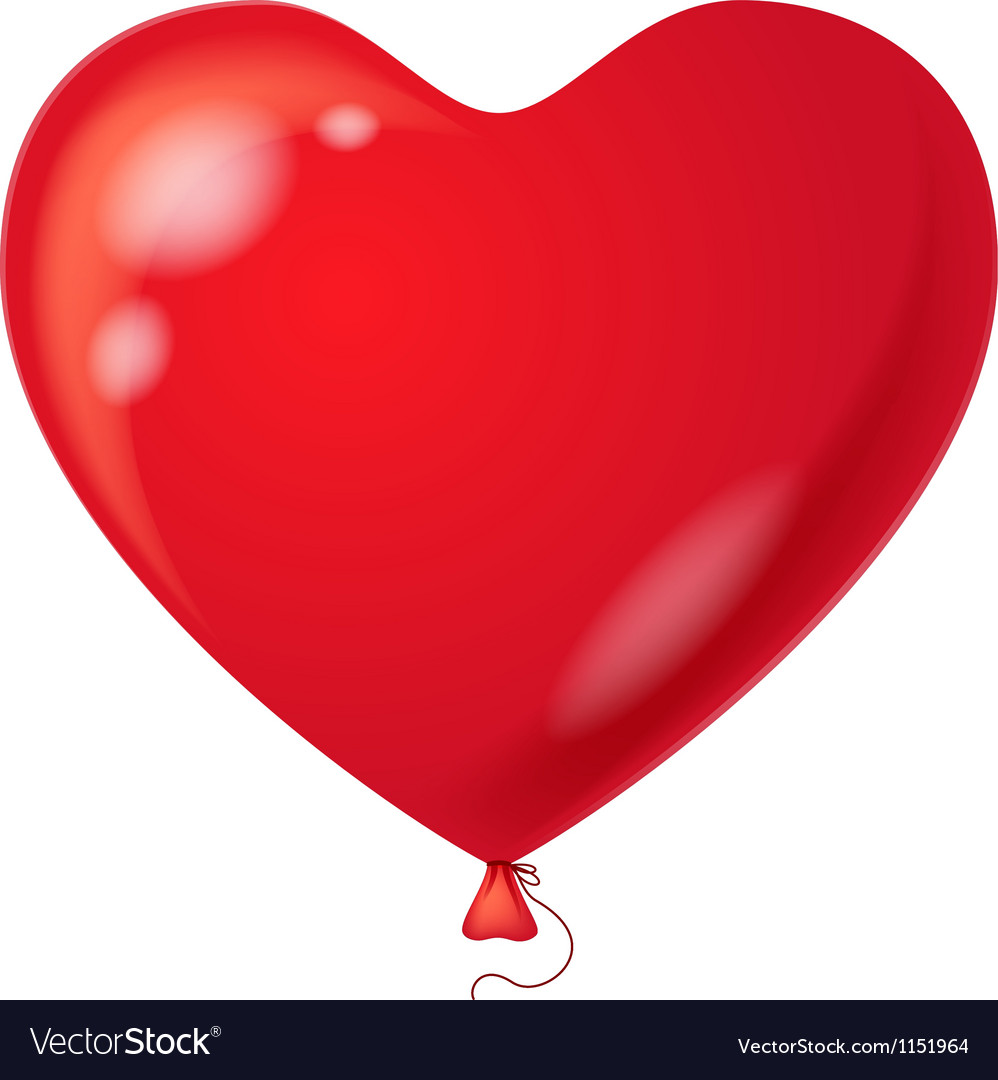 Red balloon heart shaped vector | Price: 1 Credit (USD $1)