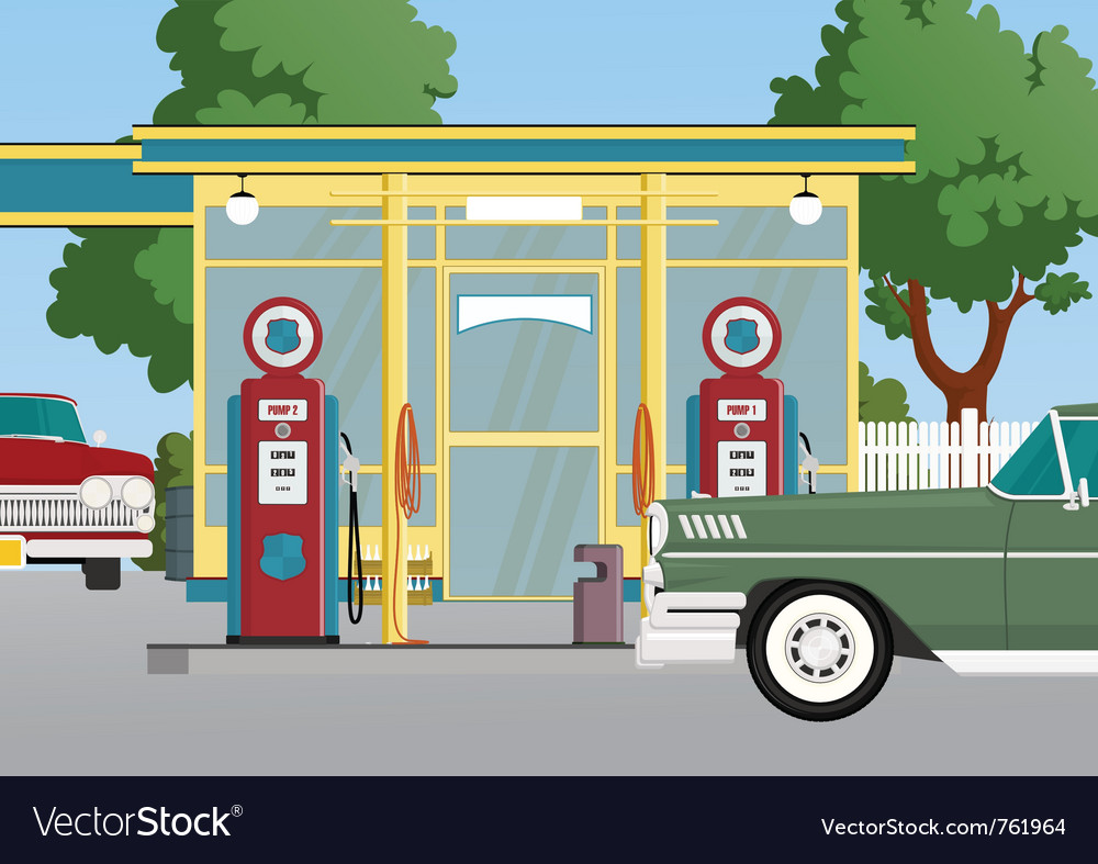Retro gas station vector | Price: 5 Credit (USD $5)