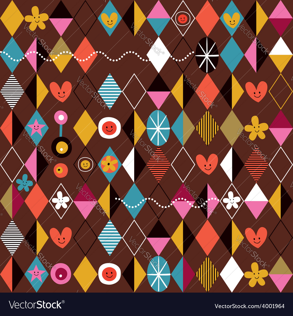 Retro style fun cartoon pattern 2 vector | Price: 1 Credit (USD $1)