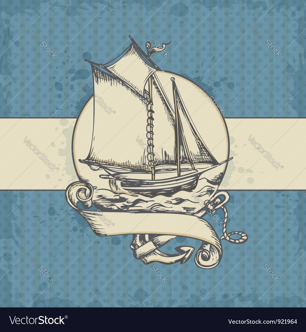Sea vintage vector | Price: 1 Credit (USD $1)