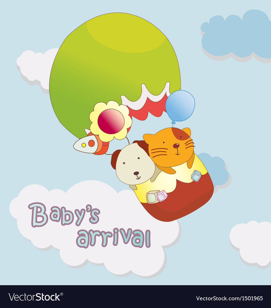 Babys arrival announcement card vector | Price: 1 Credit (USD $1)