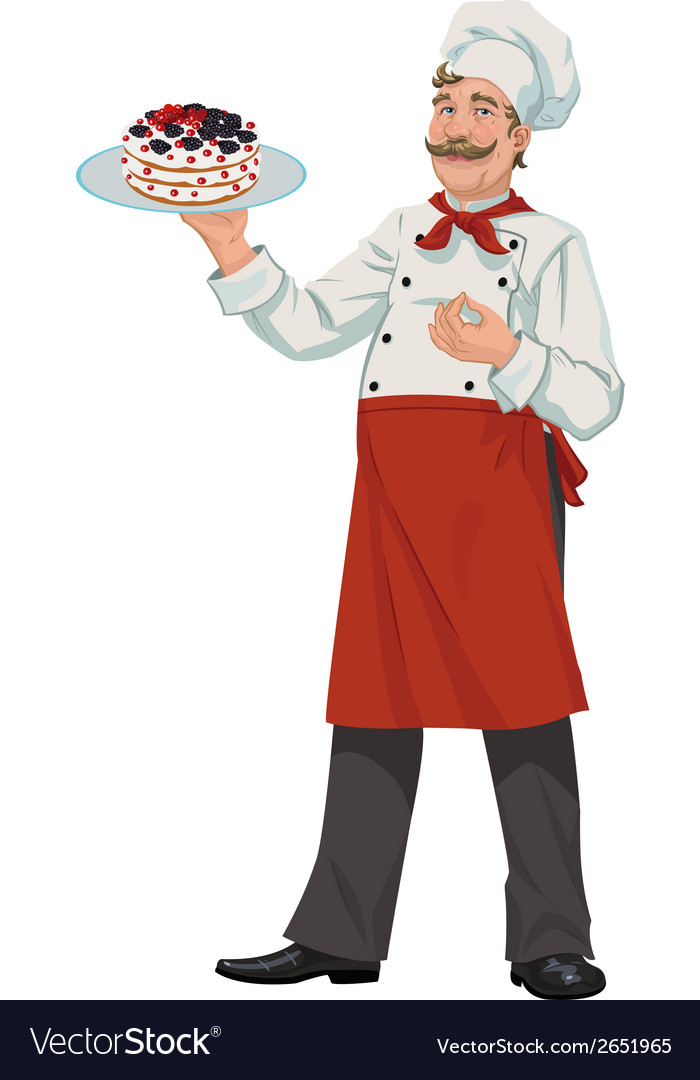 Chef with cake vector | Price: 1 Credit (USD $1)