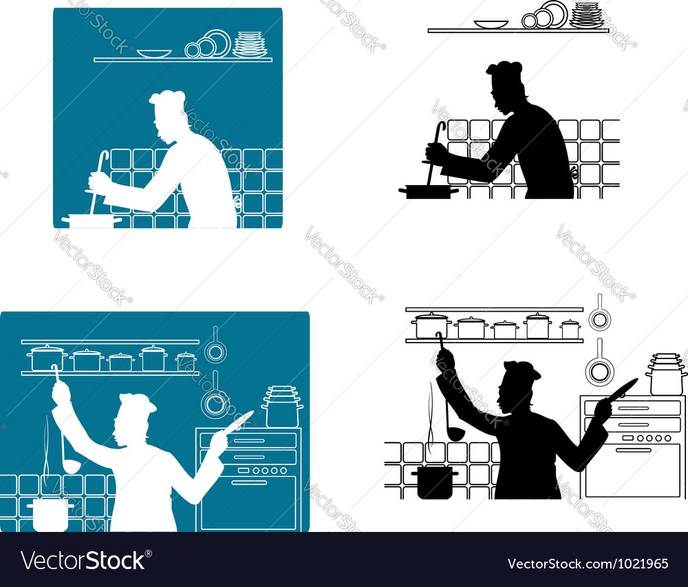 Chefs cooking on the kitchen vector | Price: 1 Credit (USD $1)