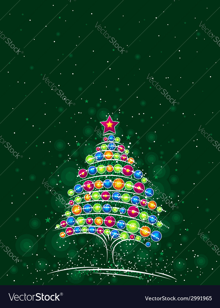 Christmas tree on the green background vector | Price: 1 Credit (USD $1)