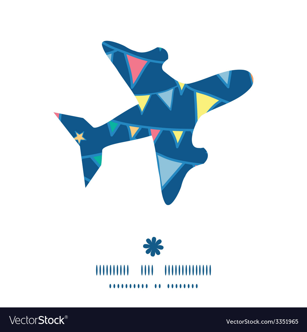 Colorful doodle bunting flags airplane silhouette vector | Price: 1 Credit (USD $1)
