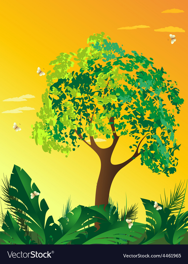 Evening landscape with tree vector | Price: 3 Credit (USD $3)