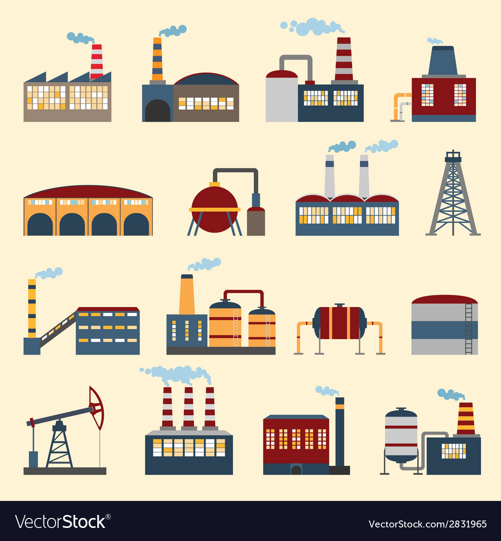 Industrial building icons vector | Price: 1 Credit (USD $1)