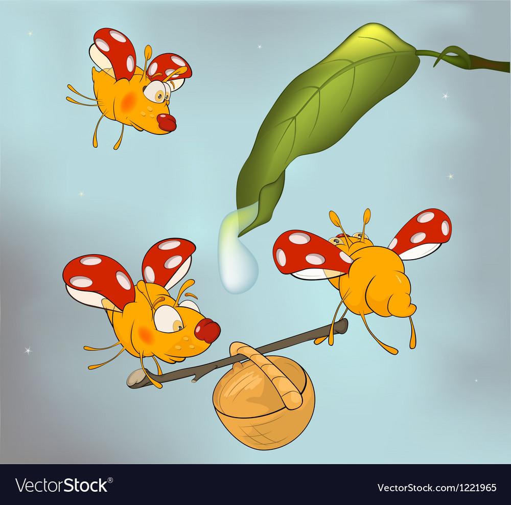 Ladybirds and dew cartoon vector | Price: 3 Credit (USD $3)