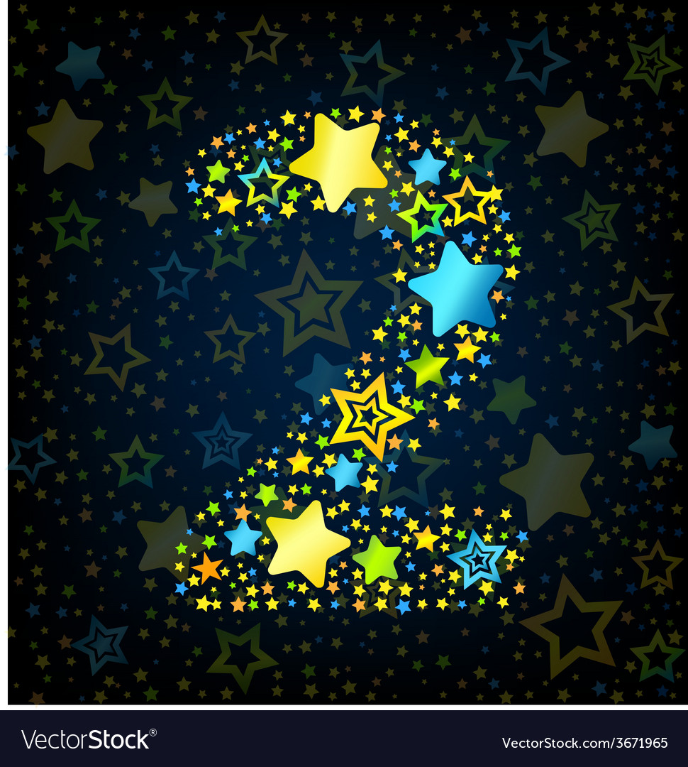 Number 2 cartoon star colored vector | Price: 1 Credit (USD $1)
