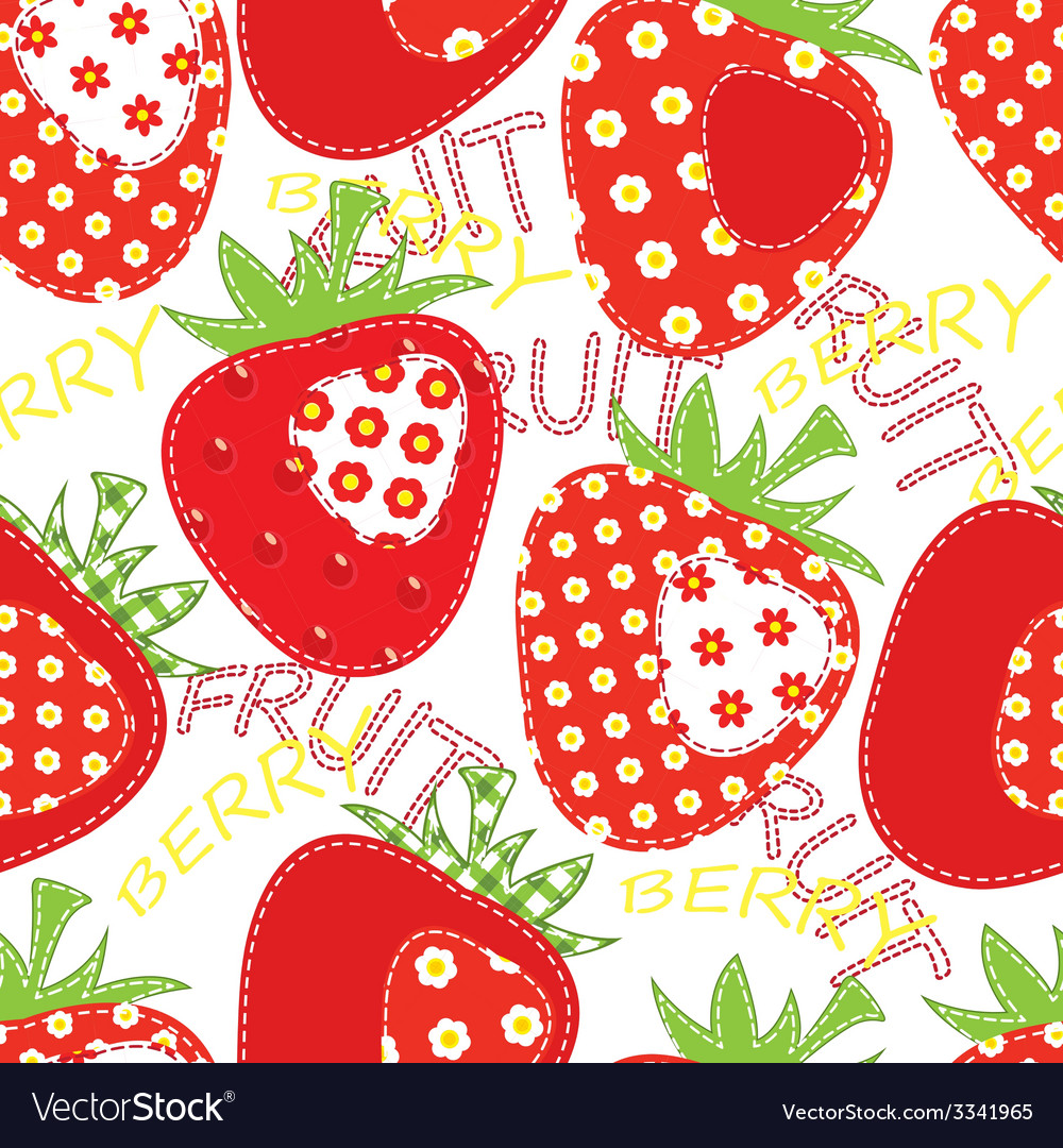 Patchwork strawberry seamless vector | Price: 1 Credit (USD $1)