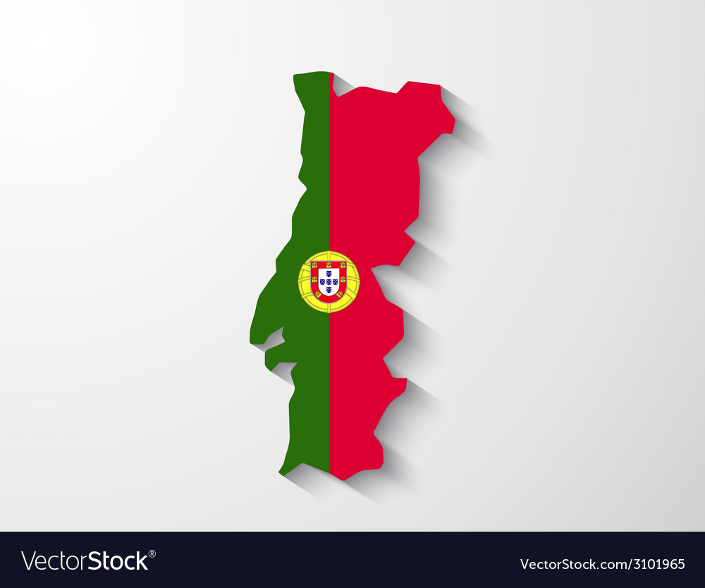 Portugal map with shadow effect presentation vector | Price: 1 Credit (USD $1)