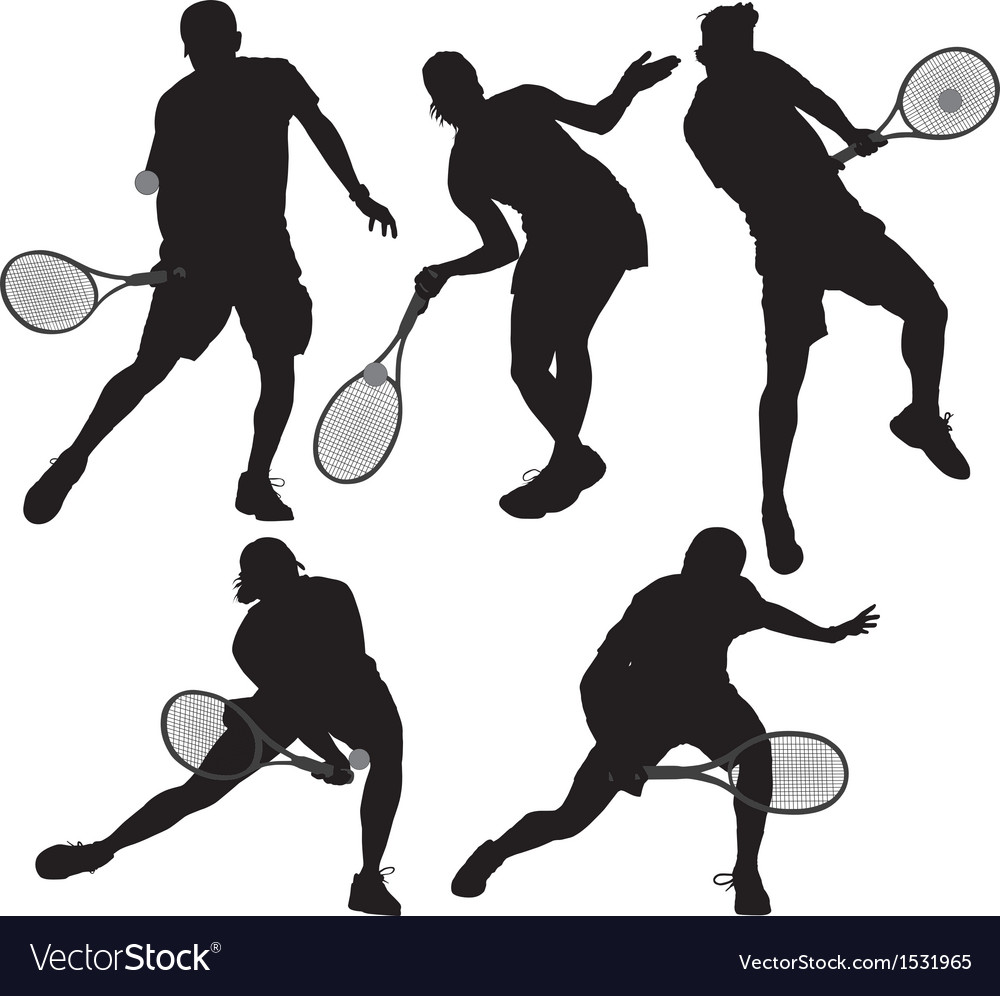 Tennis player silhouette vector | Price: 1 Credit (USD $1)